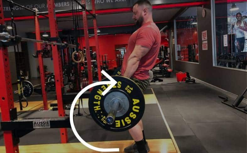 when you try and lift the barbell without maintaining contact with your shins and thighs, you'll notice that the bar path changes from a vertical line to more of a half-moon shape