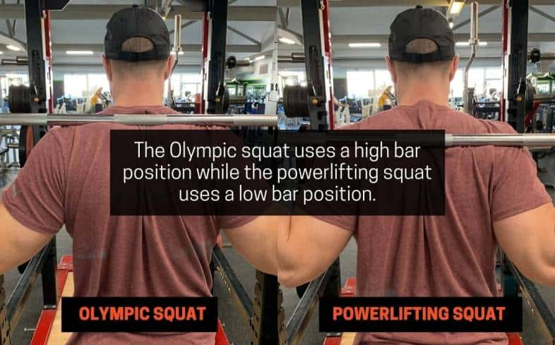 olympic squat uses a high bar position while the powerlifting squat uses a low bar position