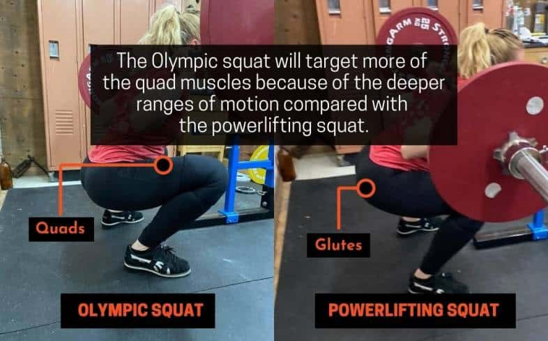 olympic squat will target more of the quad muscles because of the deeper ranges of motion compared with the powerlifting squat