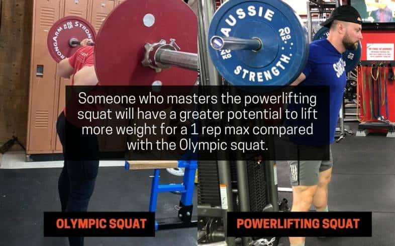 someone who masters the powerlifting squat will have a greater potential to lift more weight for a 1 rep max compared with the olympic squat