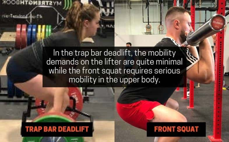 in the trap bar deadlift, the mobility demands on the lifter are quite minimal while the front squat requires serious mobility in the upper body