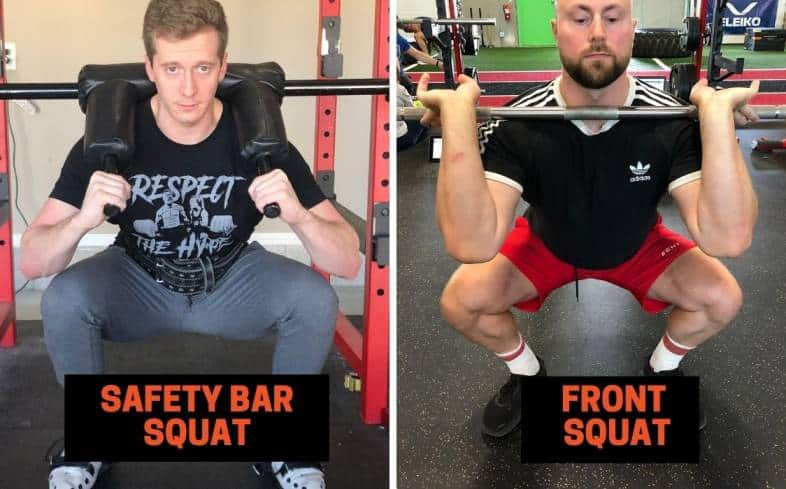 main differences between the safety bar squat and front squat
