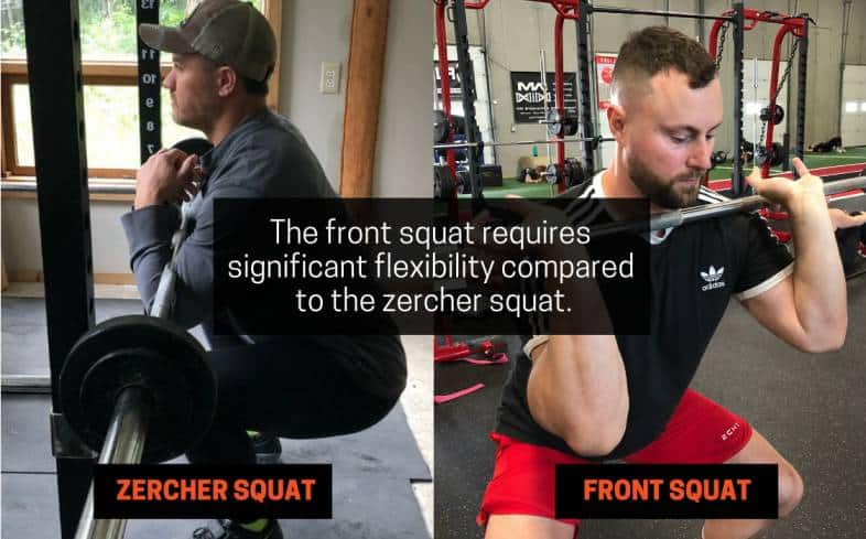 front squat requires significant flexibility compared to the zercher squat