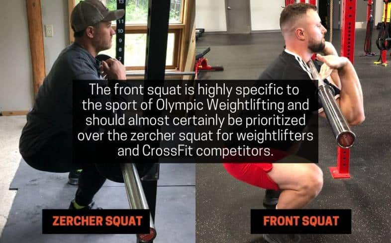 front squat is highly specific to the sport of olympic weightlifting and should almost certainly be prioritized over the zercher squat for weightlifters and crossfit competitors