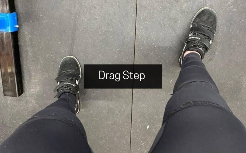 drag step is initiated by engaging your dominant leg and creating a stable base