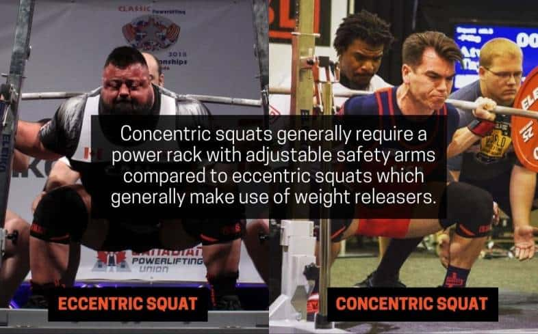 concentric squats generally require a power rack with adjustable safety arms compared to eccentric squats which generally make use of weight releasers