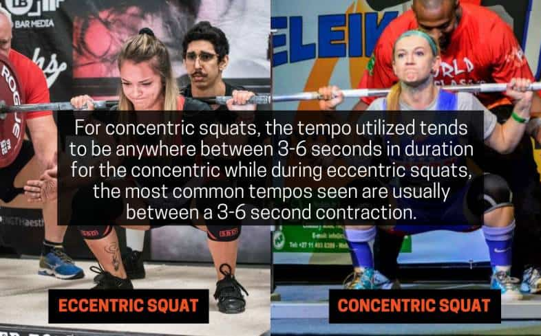 for concentric squats, the tempo utilized tends to be anywhere between 3-6 seconds in duration for the concentric while during eccentric squats, the most common tempos seen are usually between a 3-6 second contraction