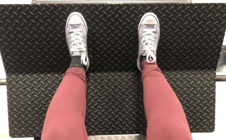 high on platform stance places feet high up on the platform about shoulder-width apart