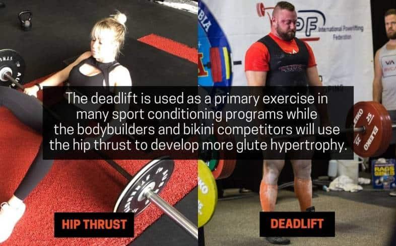 sport specificity in hip thrust versus deadlift
