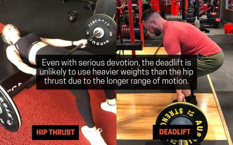 the deadlift is unlikely to use heavier weights than the hip thrust due to the longer range of motion