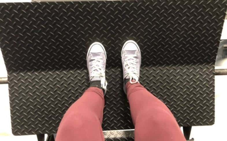 narrow stance places feet in the middle of the platform, but only about hip-width apart