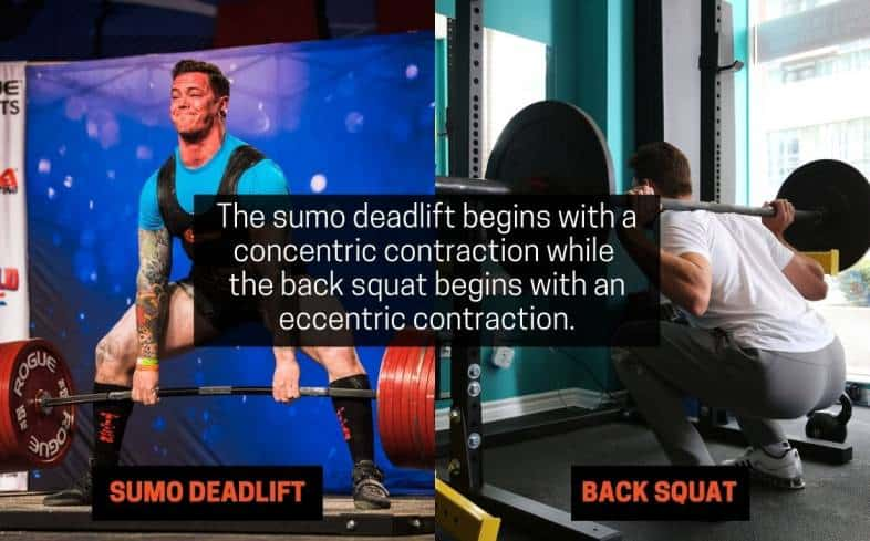 the sumo deadlift begins with a concentric contraction while the back squat begins with an eccentric contraction