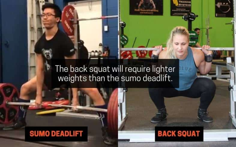 the back squat will require lighter weights than the sumo deadlift