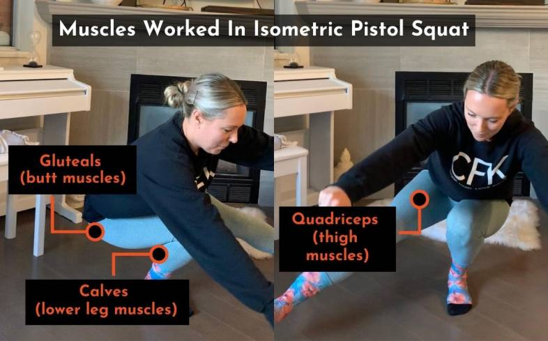the muscles used in the isometric pistol squat