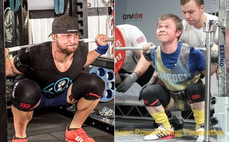 Layne Norton and Eddie Berglans squatting