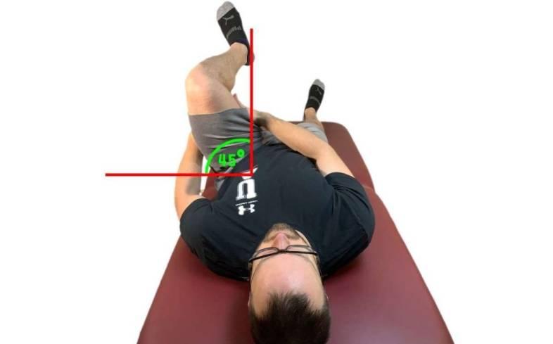 Hip flexion head on view 45 degrees