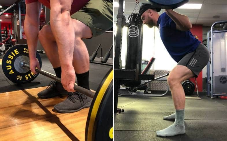 the squat stance should be wider than your deadlift stance in most circumstances