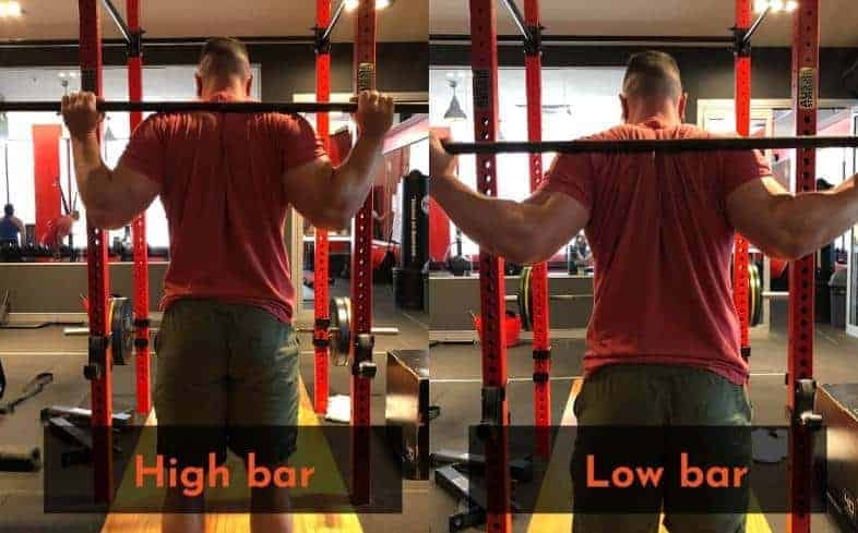 the difference between low bar and high bar is the position of the bar on the back