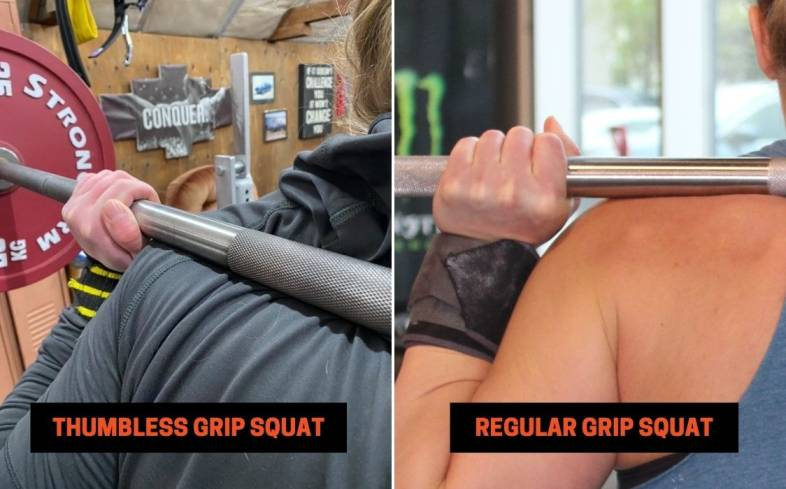 difference between regular grip and thumbless grip on the bar in squat