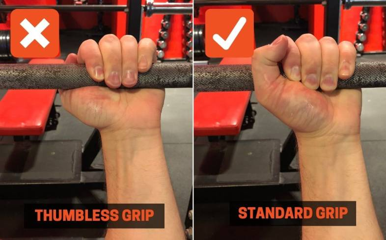 use a full grip on the barbell