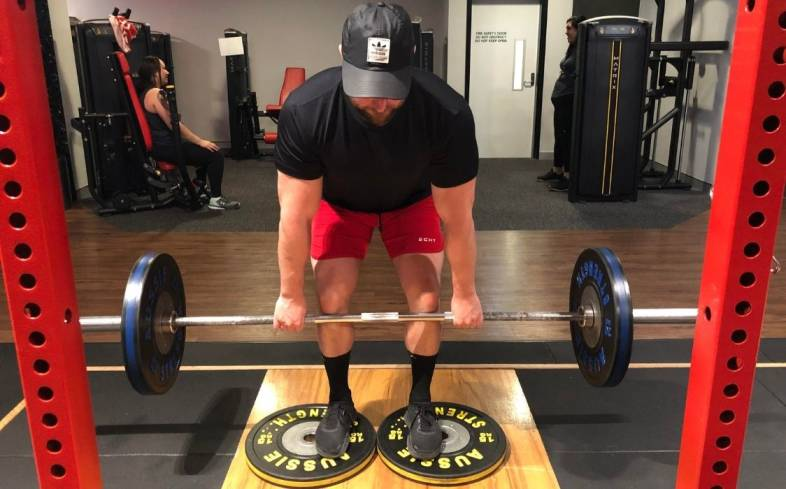 the deficit deadlift is when you perform deadlifts whilst standing on a foot elevation