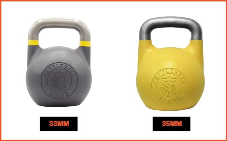 type of kettlebell comes in 33mm and 35mm handles