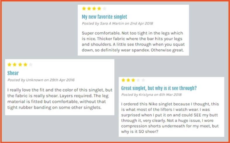women's reviews on nike weightlifting singlet