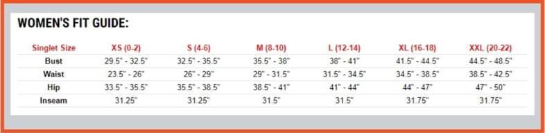 singlet women's size chart