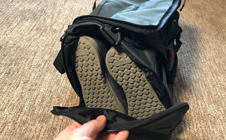 shoes inside gym bag