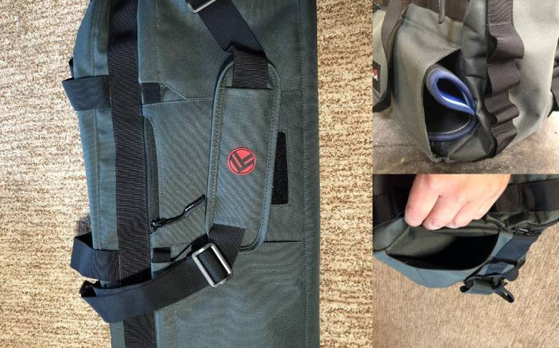 knee sleeves on outside of bag