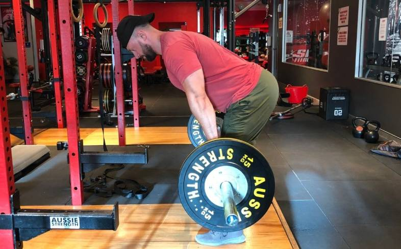 the romanian deadlift starts from a standing position and is solely a hip hinge where you pull your hips back and then forward and into the bar