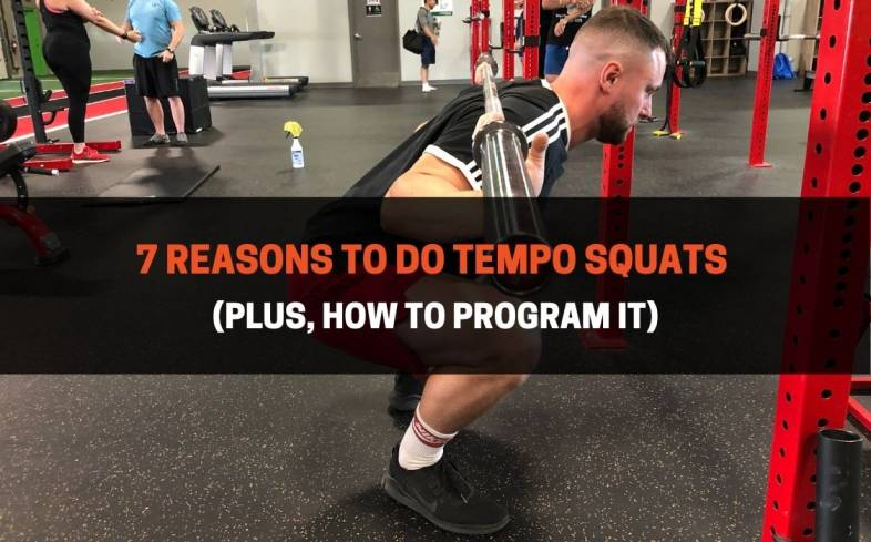 the tempo squat is when you perform the lowering phase of the movement with a slower than normal tempo, usually 3-4 seconds vs 1-2 seconds