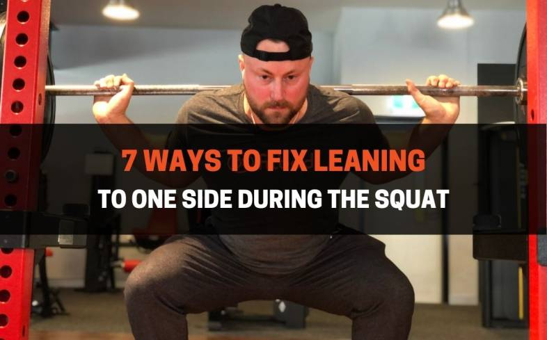 you can fix leaning to one side during the squat by ensuring you are setting up with an even grip, stance, and bar position