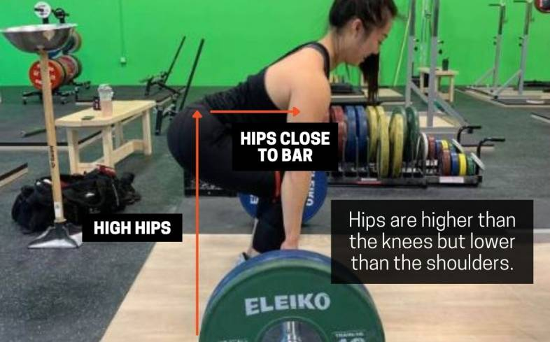 the hip needs to be higher than the knees relative to the floor but lower than your shoulder
