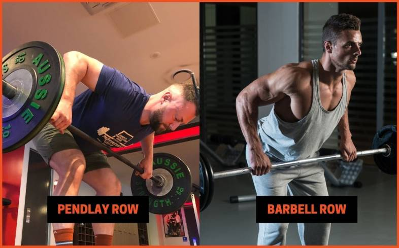 pendlay row is training for power while barbell row is training for strength and hypertrophy