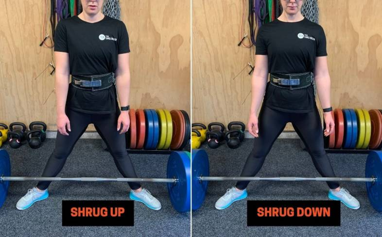 cueing an anti-shrug movement will add tension to the set up and reduce unnecessary movement during the lift