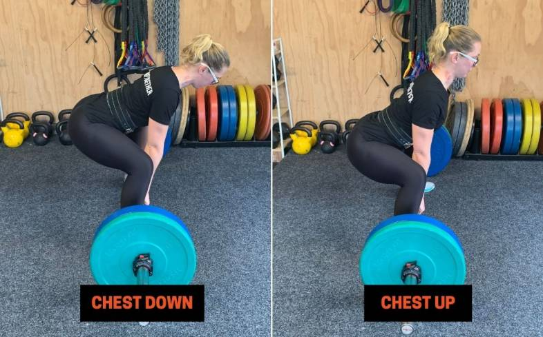 cueing 'chest up' can help a lifter maintain their torso angle and prevent their hips rising first