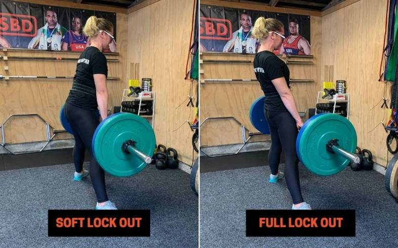 the aim of cueing 'snap the quads' is to get a lifter to lock out their knees and hips as quickly as possible