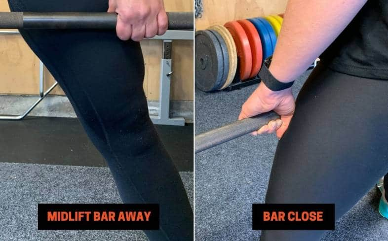 hips rising typically results in the bar moving forwards away from the body making it more difficult to control and lift