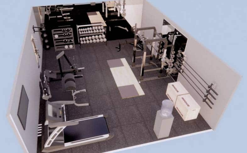 500 square foot home gym floor plan angle view