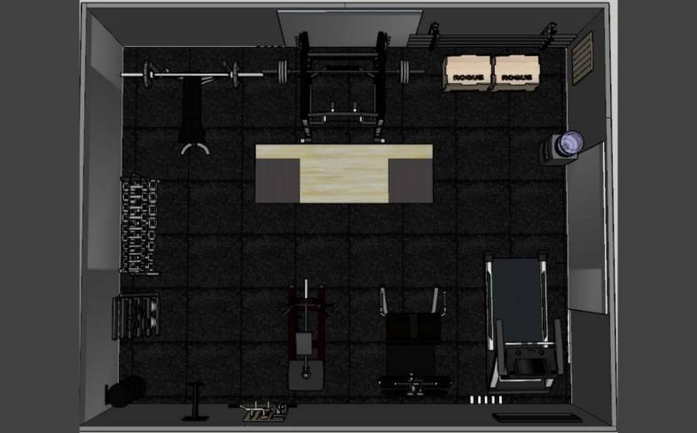 500 square foot home gym floor plan 3D view