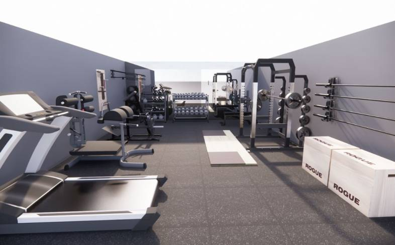 500 square foot home gym floor plan front view