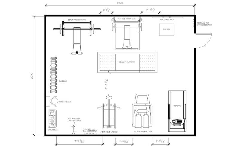 500 square foot home gym floor plan 2D version