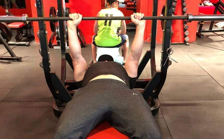 the close grip bench press is one of the bench press variants for the triceps