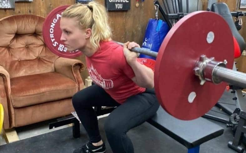 the high box squat involves squatting to a box that is the correct height to allow us to squat parallel or slightly above