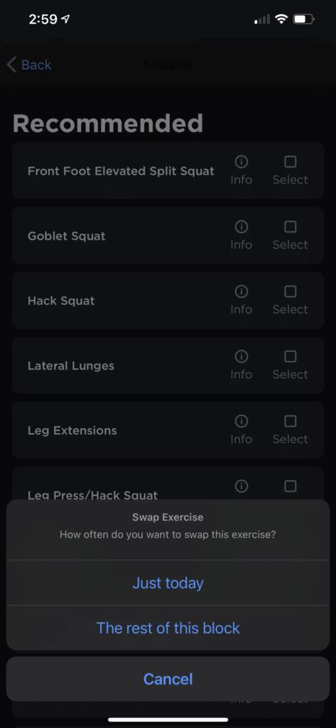 Juggernaut AI select exercise