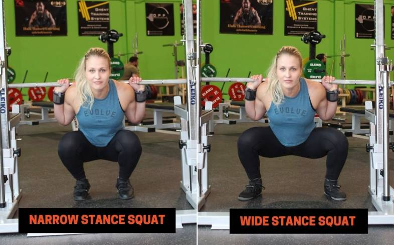 a stance too wide or too narrow can cause instability in the squat