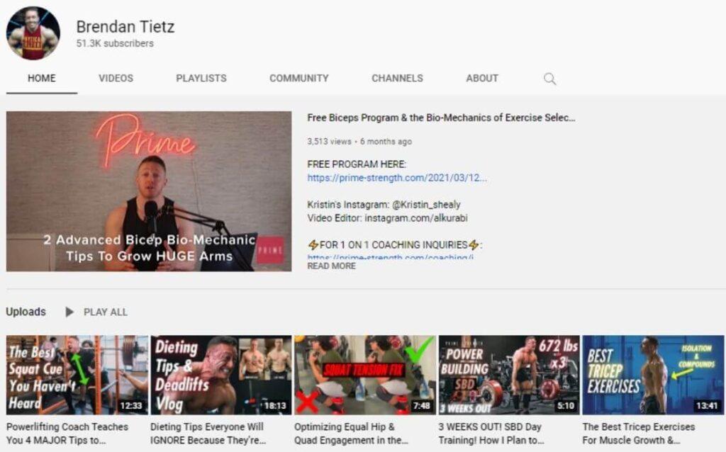 Brendan Tietz powerlifting YouTube channel