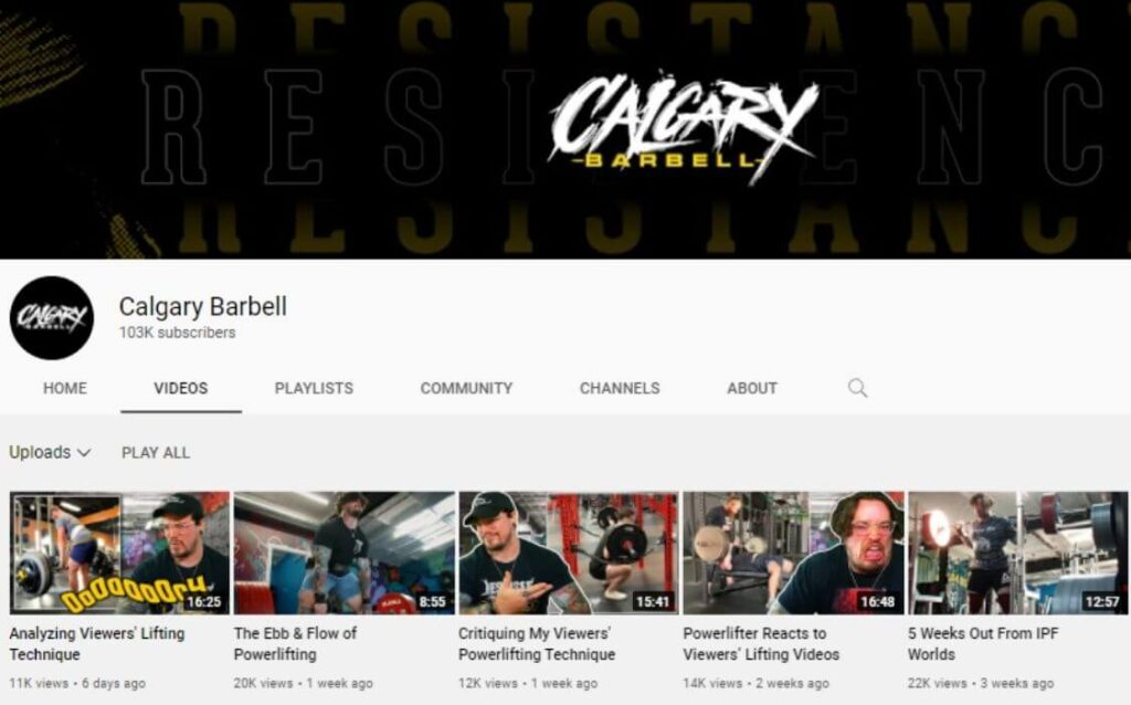 Calgary Barbell powerlifting YouTube channel