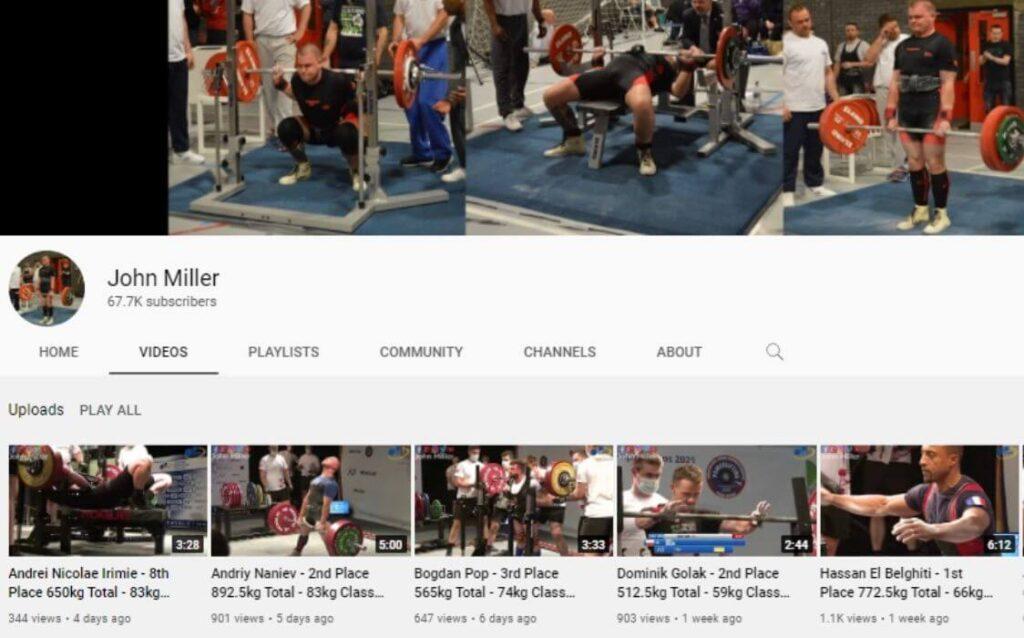 John Miller powerlifting YouTube channel